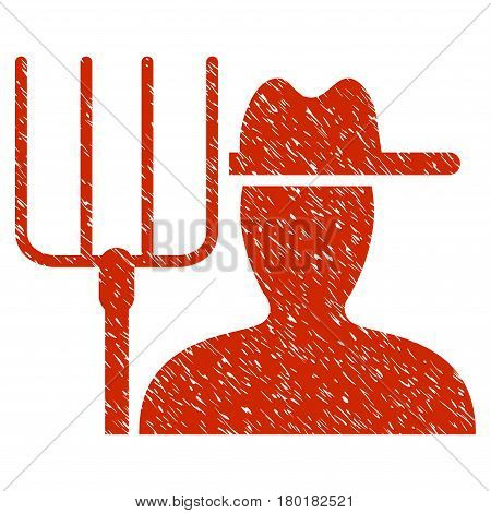 Grunge Farmer With Pitchfork rubber seal stamp watermark. Icon symbol with grunge design and unclean texture. Unclean vector red sticker.