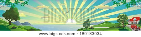 Panoramic landscape - a country cottage on the hill. The mountains on the horizon. The sunrise over the ocean. Hill. The road to the ocean. Vector illustration