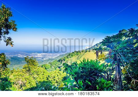 View to mountain landscape and Santa Marta from Minca in Colombia