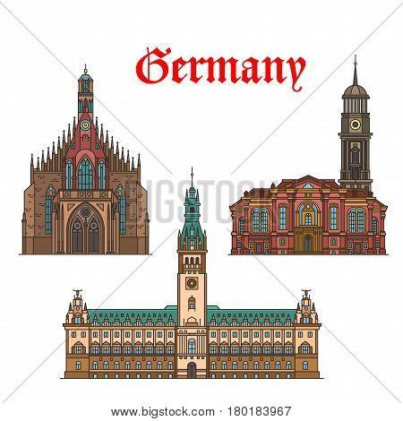 German travel landmarks of Nuremberg and Hamburg architecture thin line icon. Hamburg Rathaus or City Hall, Frauenkirche church and protestant baroque church of St Michaelis. Travel themes design