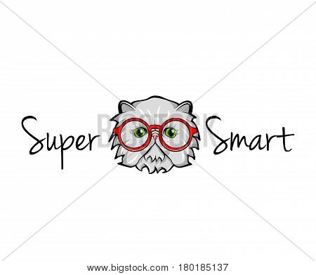 Cat face in glasses. Super smart. Vector illustration isolated on white background