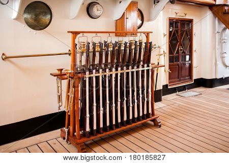 Saluting Guns On Amerigo Vespucci Sailboat