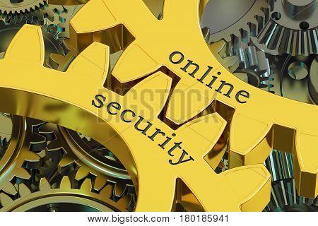 Online Security concept on the gearwheels 3D rendering