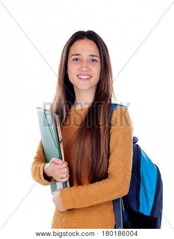 Teenager student girl isolated on a white background