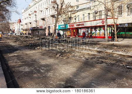 Odessa, Ukraine, 23 March 2017: Repair Of City Road And Replacement Of Tramways