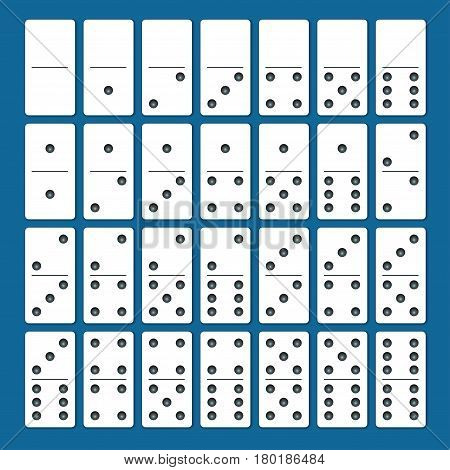 Full set of white dominoes with shadows on a blue background. Complete double-six set.