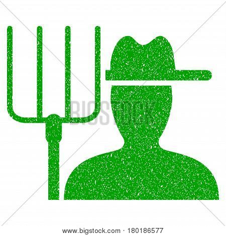 Grunge Farmer With Pitchfork rubber seal stamp watermark. Icon symbol with grunge design and dirty texture. Unclean vector green sticker.