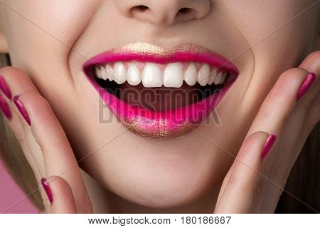 Close Up View Of Beautiful Happy Surprised Woman