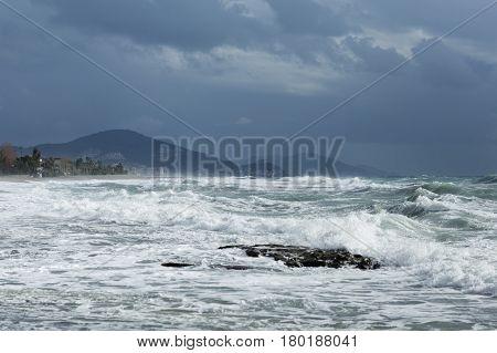 Seastorm In Mediterranean Town