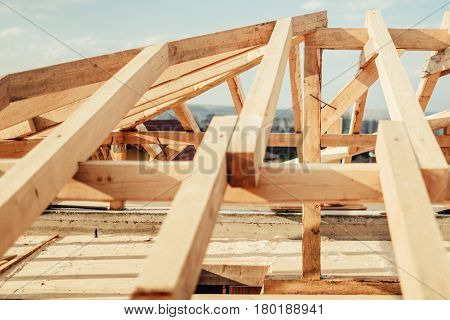 Roofing Of New Building, Construction Details. Wooden Roof Frame At House Construction