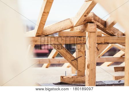 Building A Domestic House Details - Construction Close Up Of Roof System