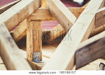 Fixed Joining With Metal Plate Of Wooden Beams At Construction Site
