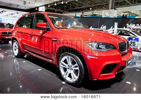 Moscow, Russia - August 25: Red Jeep Car Bmw X5 M  On Display At Moscow International Exhibition Int