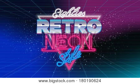 80s, eighties retro neon style banner. Retro style disco design neon. 80's party, 80s fashion, background, graphic, 80s style, disco party 1980, club vintage. Easy editable for Your design.