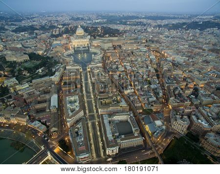Beautiful aerial view over the City of Rome Vatican in Italy