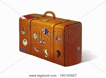 digital painting of a suitcase full of stickers with passports and plane tickets on top