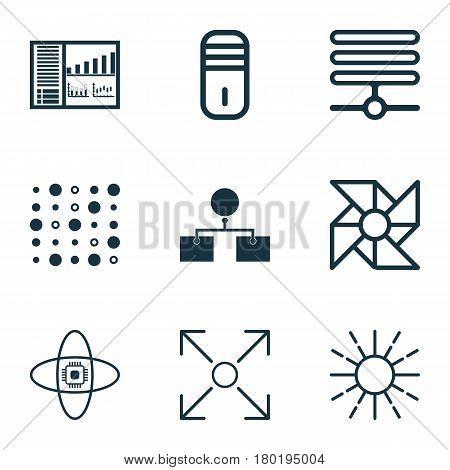 Set Of 9 Machine Learning Icons. Includes Information Base, Branching Program, Lightness Mode And Other Symbols. Beautiful Design Elements.