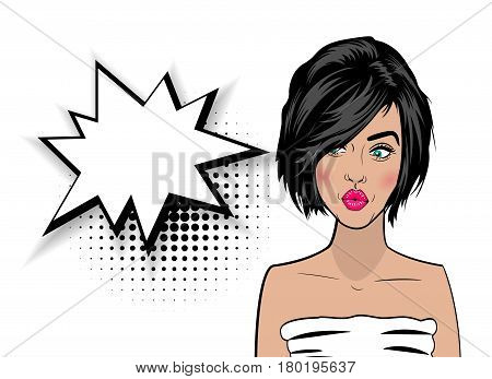 Beautiful colorful sexy girl with short black hair, kiss mouth style pop art speak. Comic book halftone background. Vector colored dot illustration. Empty blank comic text speech bubble.