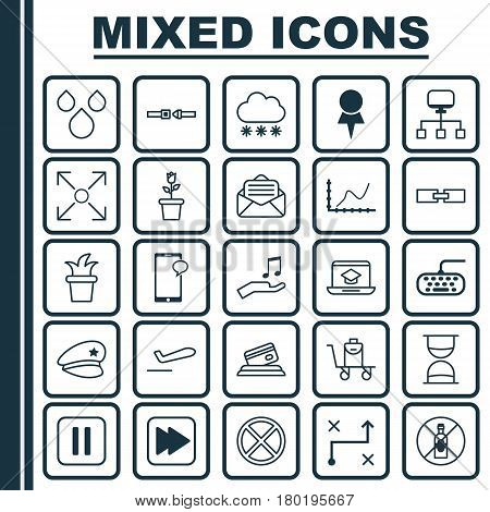 Set Of 25 Universal Editable Icons. Can Be Used For Web, Mobile And App Design. Includes Elements Such As Achievement Graph, Exit, Safety Belt And More.