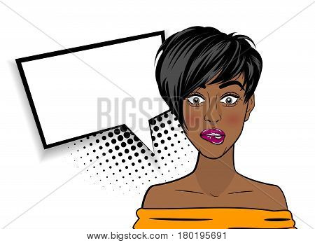 Beautiful black sexy shocked girl, short hair, open mouth style pop art speak oops. Comic book halftone background. Vector colored dot illustration. Empty blank comic text speech bubble.