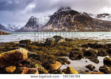 Magnificent Winter Mountain Landscape By The Sea.