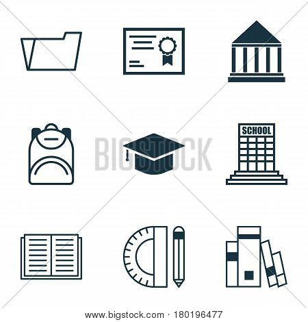 Set Of 9 School Icons. Includes Education Tools, Academy And Other Symbols. Beautiful Design Elements.