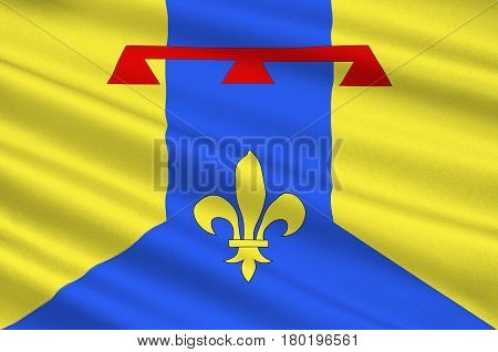 Flag of Bouches-du-Rhone is a department in the south of France. 3d illustration