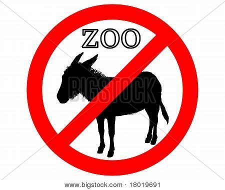 Detailed and colorful illustration of donkey in zoo prohibited poster
