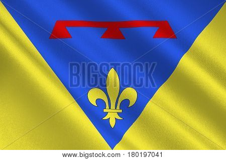 Flag of Var is a department in the Provence-Alpes-Cote d'Azur region in Provence in southeastern France. 3d illustration