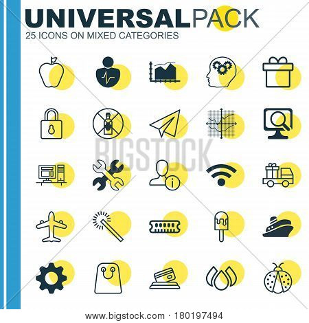 Set Of 25 Universal Editable Icons. Can Be Used For Web, Mobile And App Design. Includes Elements Such As Ladybird, Personal Character, Jet And More.