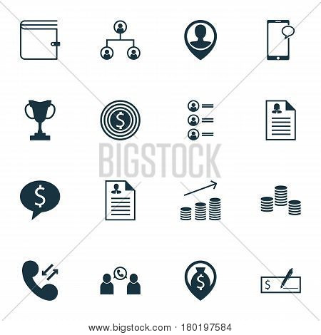 Set Of 16 Human Resources Icons. Includes Coins Growth, Business Goal, Messaging And Other Symbols. Beautiful Design Elements.
