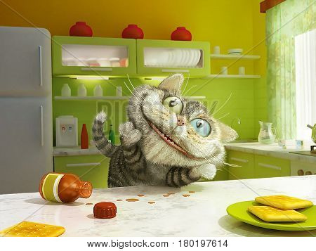 A cat and a bottle of tincture valerian. Morning in the kitchen. Unbridled joy. Funny pet. 3D illustration.