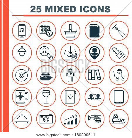 Set Of 25 Universal Editable Icons. Can Be Used For Web, Mobile And App Design. Includes Elements Such As Group, Harrow, Sleigh And More.