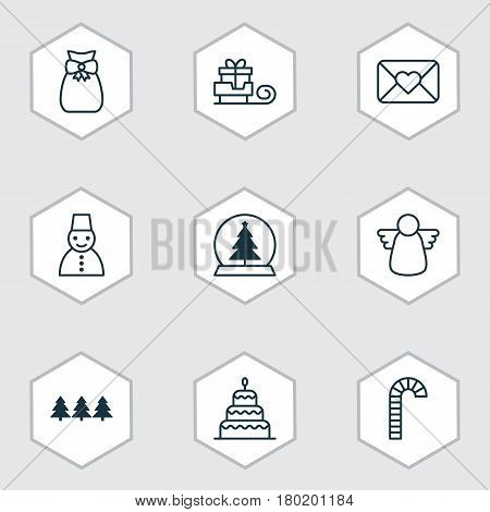 Set Of 9 Holiday Icons. Includes Toboggan, Magic Sphere, Snow Person And Other Symbols. Beautiful Design Elements.
