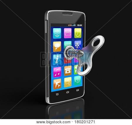 3D Illustration. Touchscreen smartphone with winding key. Image with clipping path.