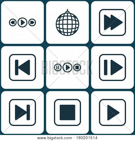Set Of 9 Multimedia Icons. Includes Music Control, Run Song Back, Following Music And Other Symbols. Beautiful Design Elements.