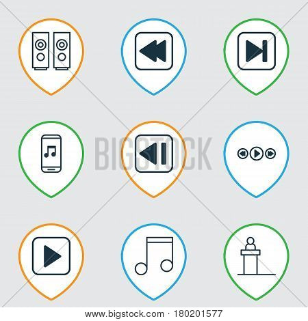 Set Of 9 Music Icons. Includes Start Song, Rewind Back, Audio Mobile And Other Symbols. Beautiful Design Elements.