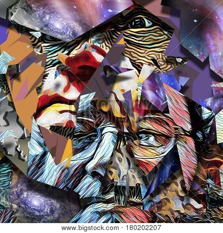 Abstract painting. Old man's face in glasses.  Some elements provided courtesy of NASA
