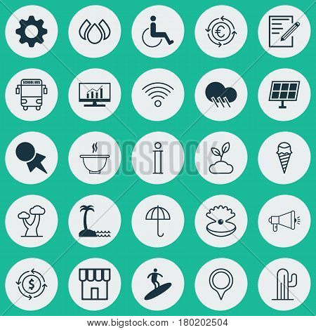 Set Of 25 Universal Editable Icons. Can Be Used For Web, Mobile And App Design. Includes Elements Such As Sun Power, Transport Vehicle, Boardsports And More.