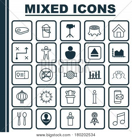 Set Of 25 Universal Editable Icons. Can Be Used For Web, Mobile And App Design. Includes Elements Such As Keyword Optimisation, Steak, Desert Plant And More.