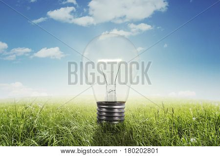 Concept of Eco technology. Light bulb on green meadow under clear sky. Shot outdoors