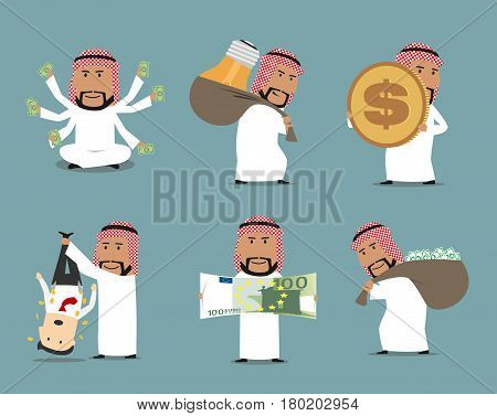 Rich arab businessman with money character set. Arab millionaire and successful businessman with money bag full of dollar banknotes, huge euro bill and dollar coin for wealth, financial success design