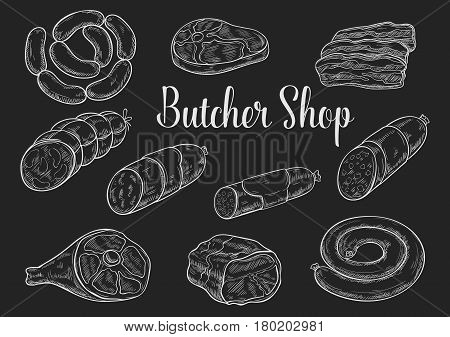 Meat product sketches on chalkboard. Fresh beef steak, sausage, ham, pork bacon, salami, gammon, frankfurter and pepperoni. Butcher shop and meat store menu board or food packaging label design