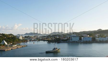 Castries, St. Lucia waterfront  Coastal view of Castries, Sta. Lucia, West Indies