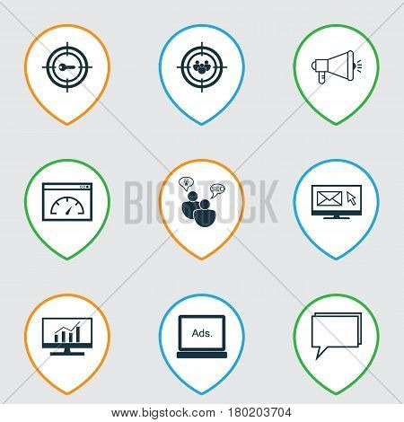 Set Of 9 Advertising Icons. Includes Keyword Marketing, Media Campaign, Digital Media And Other Symbols. Beautiful Design Elements.