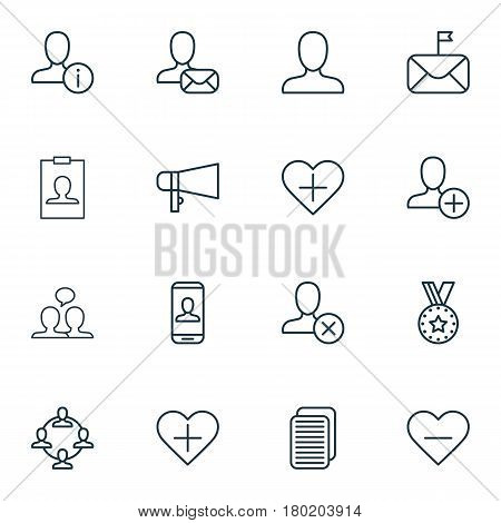 Set Of 16 Communication Icons. Includes Identity Card, Team Organisation, Add To Favorites And Other Symbols. Beautiful Design Elements.
