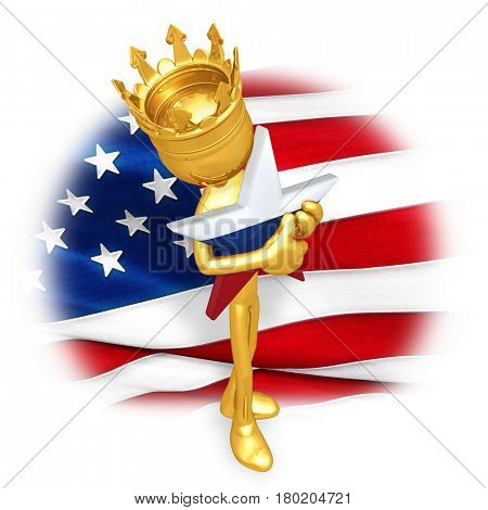 King Of America Hugging A Russian Star The Original 3D Character Illustration