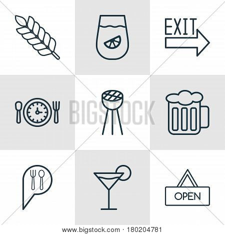 Set Of 9 Restaurant Icons. Includes Grill, Lemonade, Wheat And Other Symbols. Beautiful Design Elements.