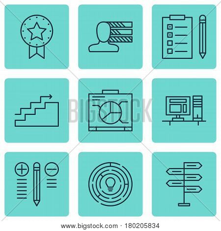 Set Of 9 Project Management Icons. Includes Decision Making, Personal Skills, Board And Other Symbols. Beautiful Design Elements.