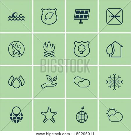 Set Of 16 Ecology Icons. Includes Fire Banned, Snow, Guard Tree And Other Symbols. Beautiful Design Elements.